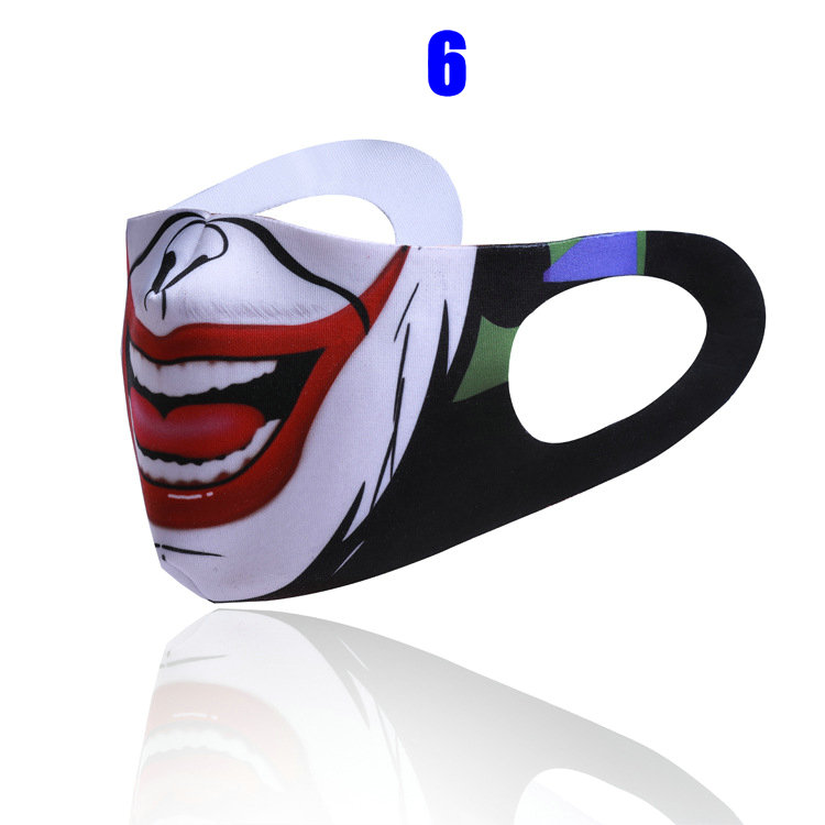 Halloween Designer Face Mask Individual Packaging Protective Reusable Dustproof Washable 3D Printing Cloth Cotton Adult Black Mascherine
