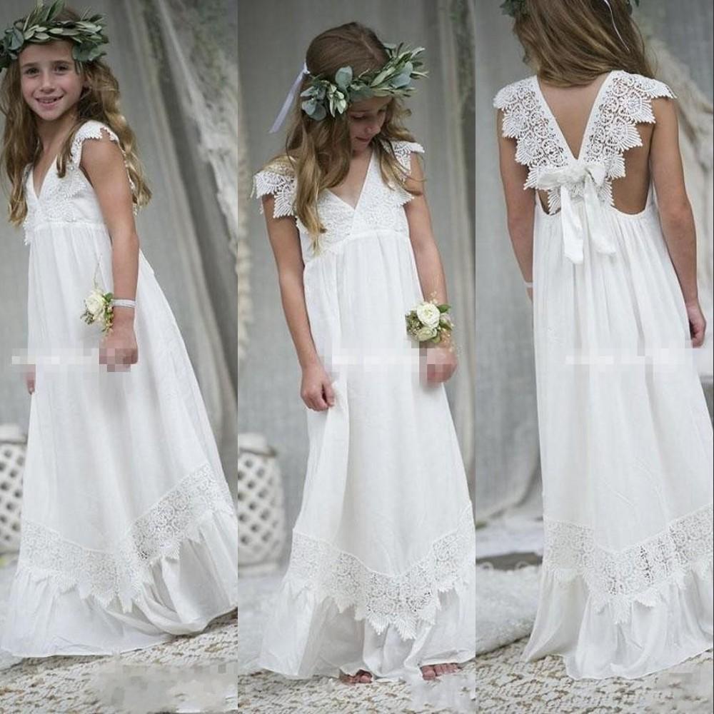new bohemia günstige schöne weiße elfenbein-blumen-mädchen-kleider für  hochzeiten mit v-ausschnitt-spitze-kappen-hülsen-mädchen-festzug-kleid prom