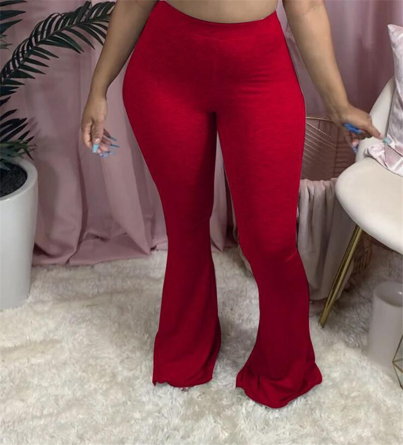Plus size Women pants solid color trousers fashion fall winter clothes flared pants casual bodycon pants hot selling 3569