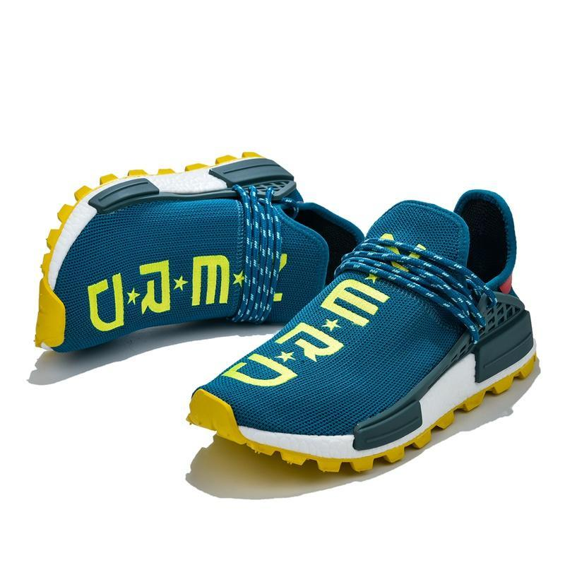 2019 Pharrell Williams NMD Human Race Sneakers BBC Solar Pack Yellow Blue Nerd Heart Mind Mens Womens Sports nmds Running Shoes Size 36-47