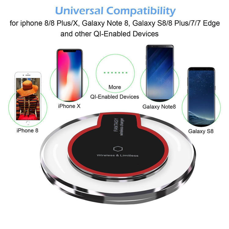 Universal Fantasy Qi Wireless Charger With LED Light for iPhone Samsung Mobile Phone K9 Crystal Wireless Charger