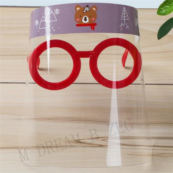 Children Cartoon Face Shield With Glasses Anti-fog Isolation Mask Prevent Splashing Droplets Full Protective Mask Party Mask Favor Kid Gifts