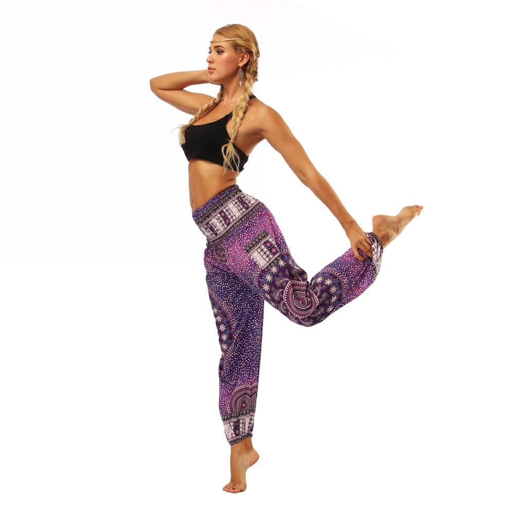 TL005- Purple galaxy floral wide leg loose yoga pant leggings (5)