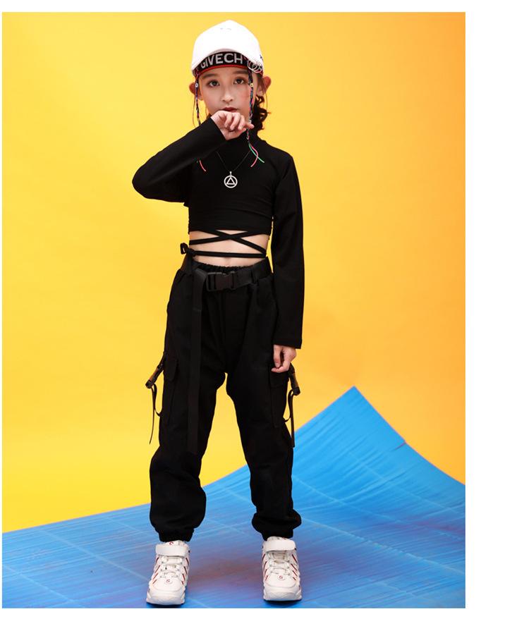 Kids Hip Hop Clothing High Neck Sweatshirt Shirt Top Crop Black Running Casual Pants for Girl Jazz Dance Costume Dancing Clothes (10)