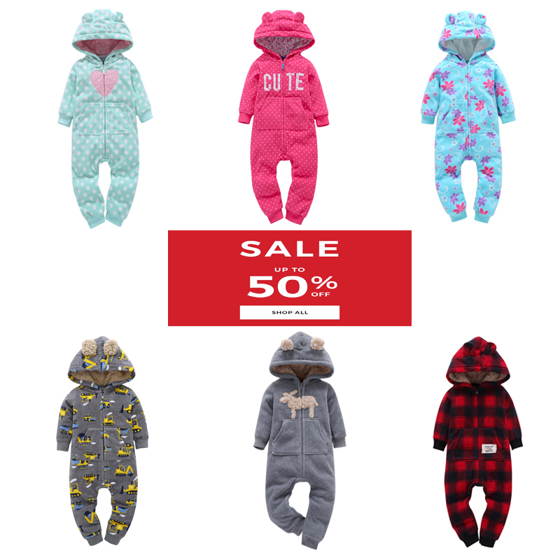 winter baby clothes boy girl long sleeve hooded jumpsuit unisex new born costume newborn onesie Coveralls zipper rompers 2020