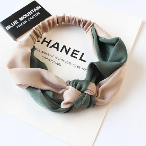 New Two Color Splicing Headband Chinese Knot Wide Brim Cross Headband European American Style Satin Knotted Headband