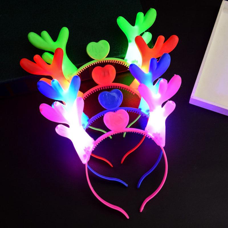 LED antlers Light Up Headband Flashing Hair Sticks Halloween Christmas Party Cosplay prop Light-emitting Xmas deer Hair accessories C5193