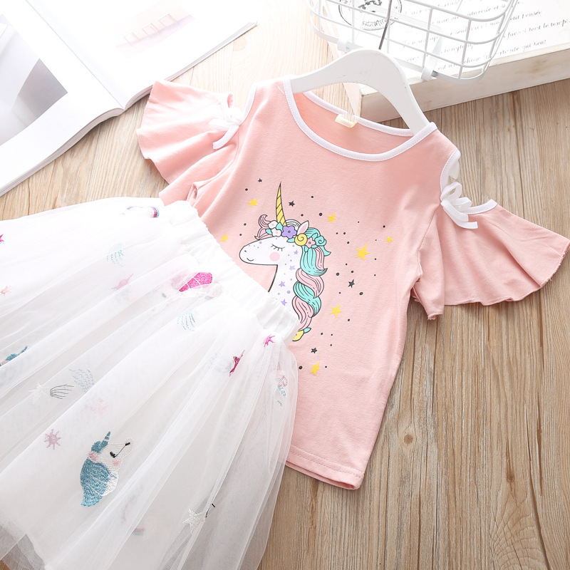 Summer Children`s Clothing Sets Girls Embroidered Cartoon Unicorn T-shirt And Rainbow Skirt Suit Kids Short Sleeve Clothes Sets (2)