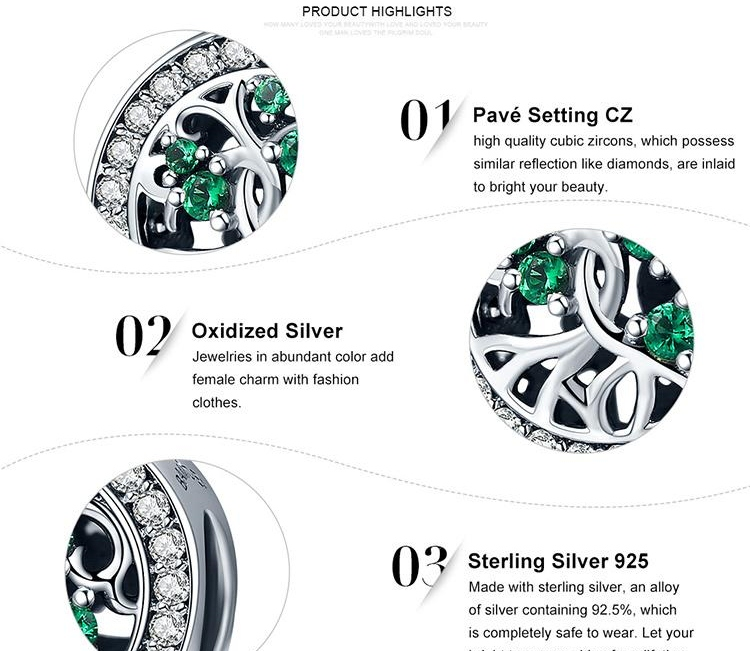 925 Sterling Silver Green CZ Crystal The Tree of Life Pendant Charms fit Original Bracelets & Necklaces DIY Jewelry Gift
