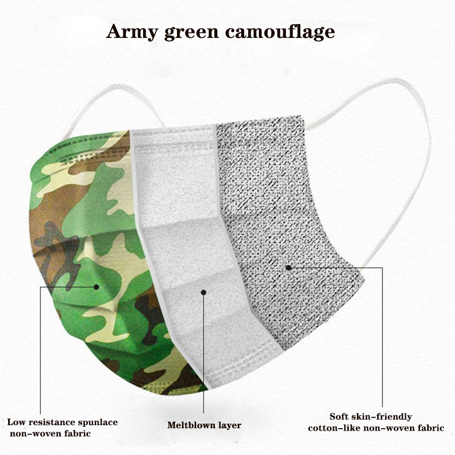 Camouflage camo adult print disposable face mask mascarilla dustproof breathable disposable three-layer military shiled cover free dhl