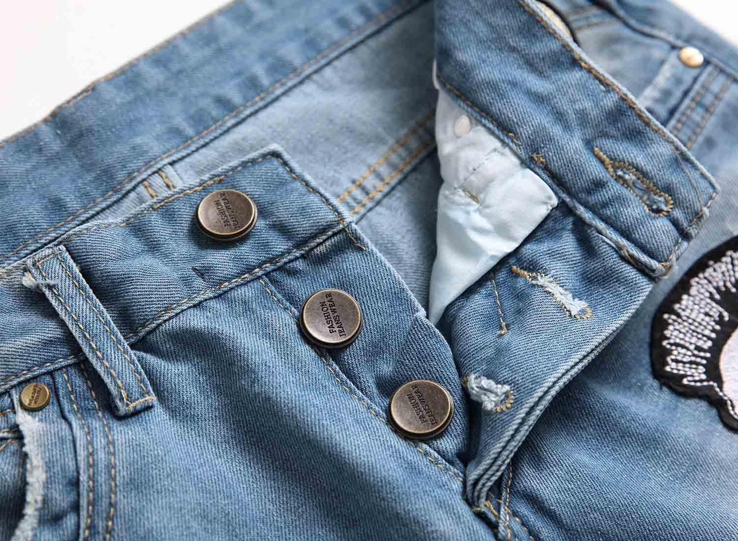 Hairstylist Embroidery Jeans Blue Shabby Pants Zipper Ripped Hole Bike Motorcycle Rock Revival Pants