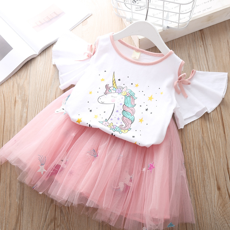 Summer Children`s Clothing Sets Girls Embroidered Cartoon Unicorn T-shirt And Rainbow Skirt Suit Kids Short Sleeve Clothes Sets (1)