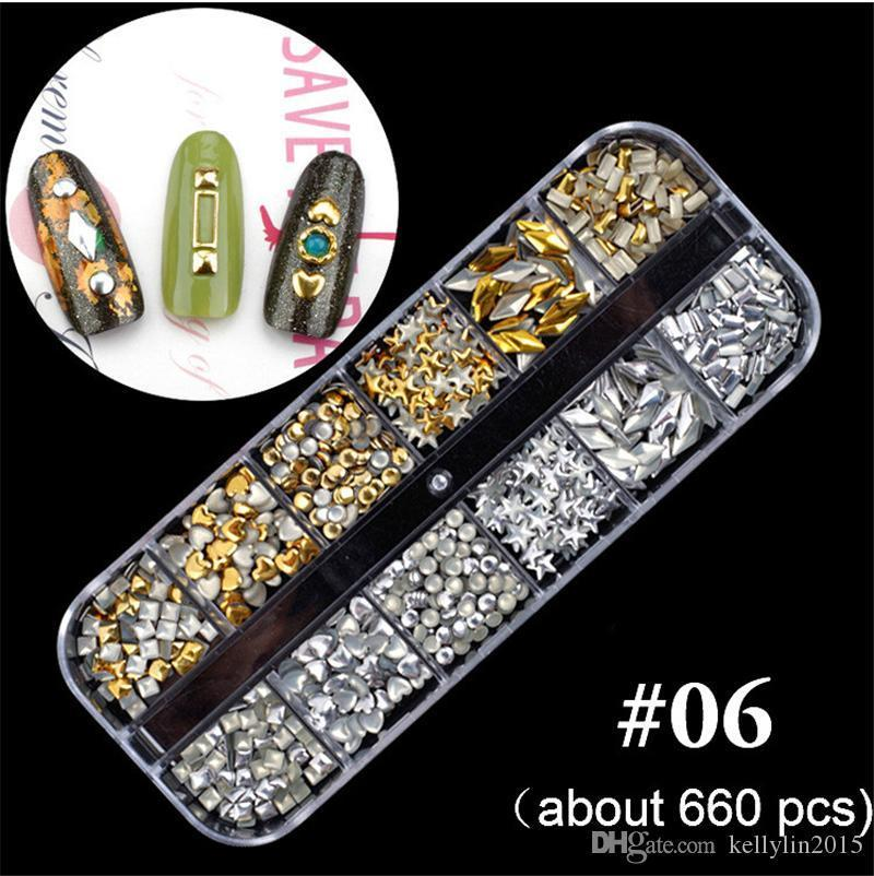 12 Grids Nail Art Decorations Studs 3D Crystal Rhinestones Alloy Drill Nail Sequins Mermaid Beads Tips Nail Decals Manicure Glitter Diamonds