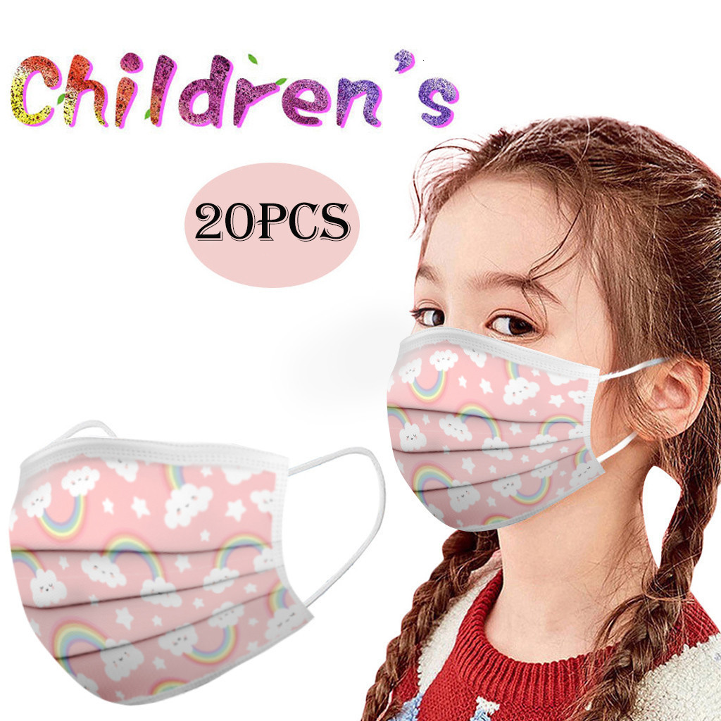 a box Cartoon Kids Disposable Mask 3 Layer Child Filter Hygiene Thicken Children's Face Mouth Mask Earloop Fast Delievry