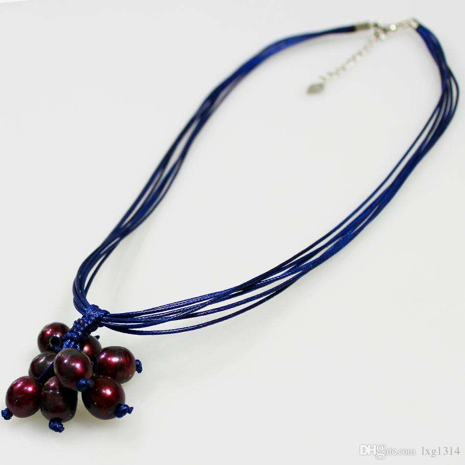 2018 retro Europe and the United States popular jewelry wax line deep red pearl necklace Ms. Pitty necklace tassel pendant