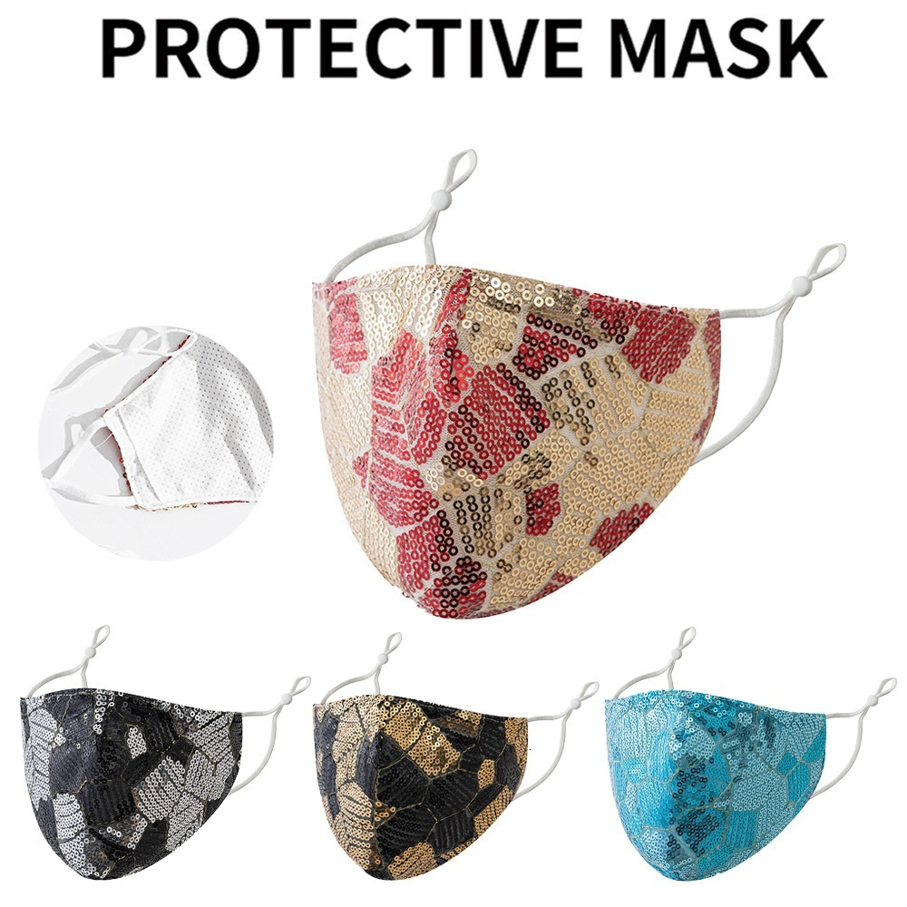 2020 fashion Two-color stitching sequins face mask men women Face Masks reusable face masks sun protection section dust-proof Mask