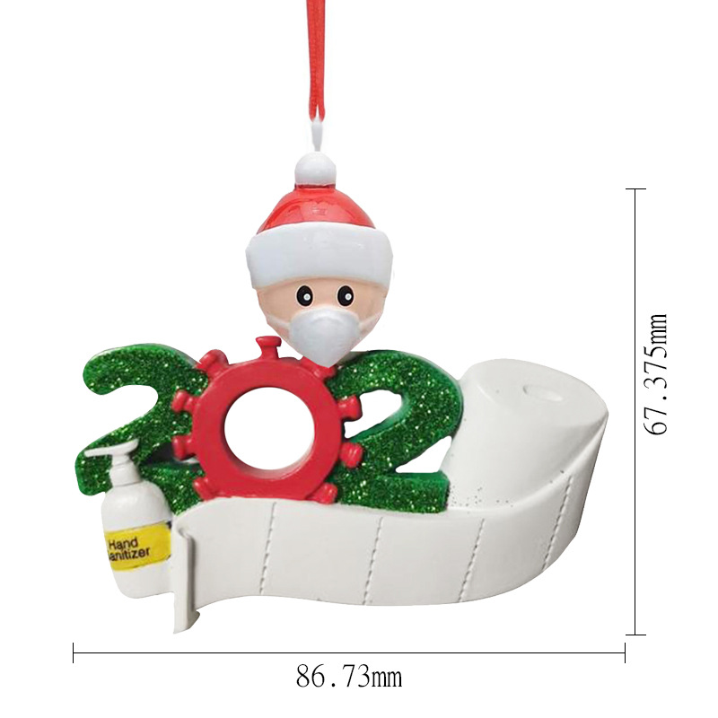 Cheapest 2020 Quarantine Christmas ornament Decoration DIY Name Family Of 7 PVC Christmas Decors Pandemic Social Distancing HOT