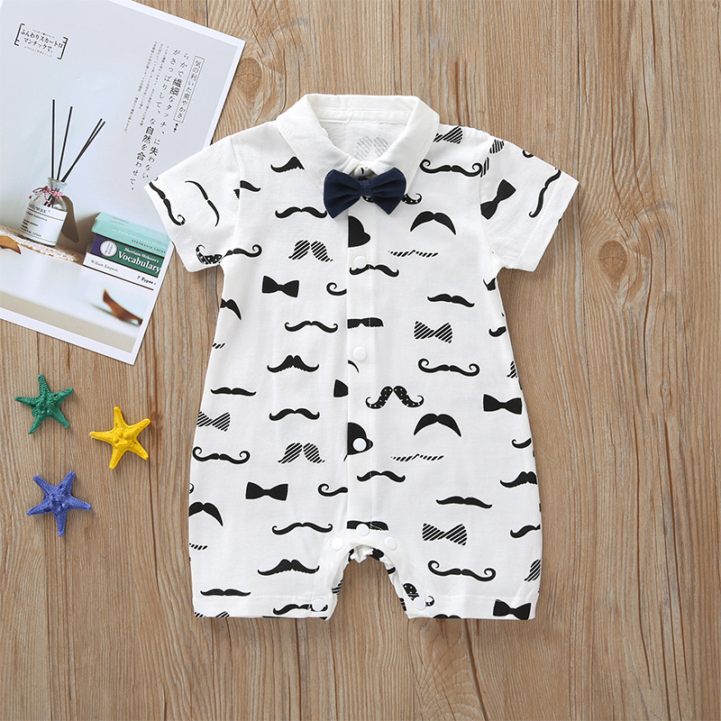 new born boy jumpsuit cotton 2019 baby summer gentleman clothes newborn short sleeve clothing BOW TIE 3-24 month