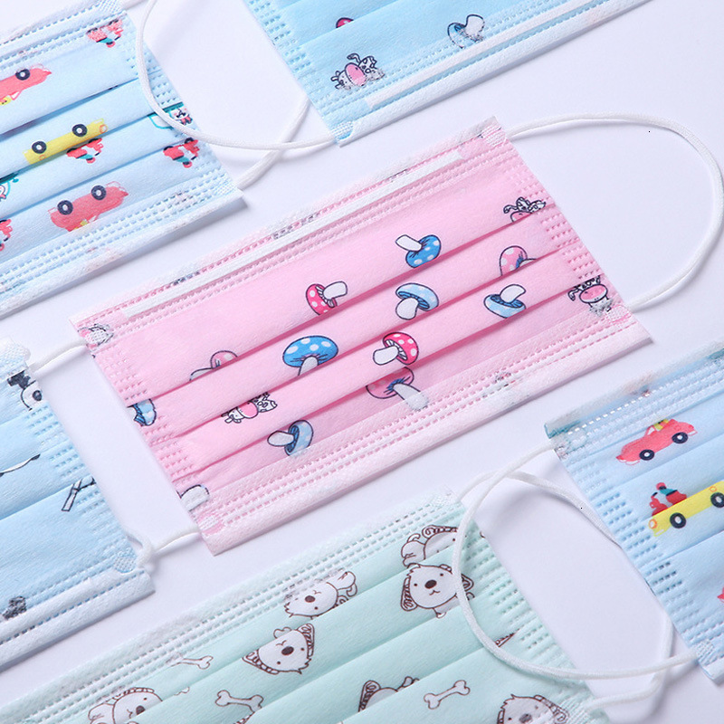Cartoon Kids Masks Individual pack Designer Face mask Fashion Child face Mask Children 3 layers Disposable Protective Mouth DHL free