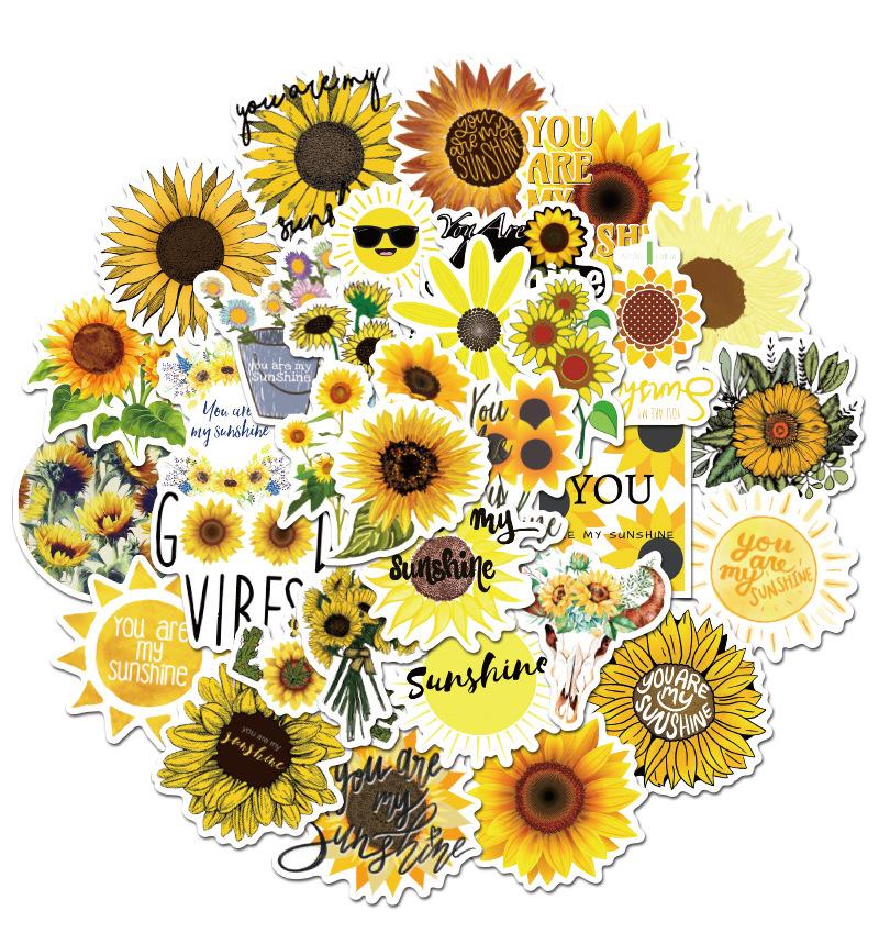 50Pcs Sunflower You are my sunshine Sticker Non-random Graffiti Car Bike Luggage Sticker Laptop Skateboard Motor Water Bottle Vinyl Decal