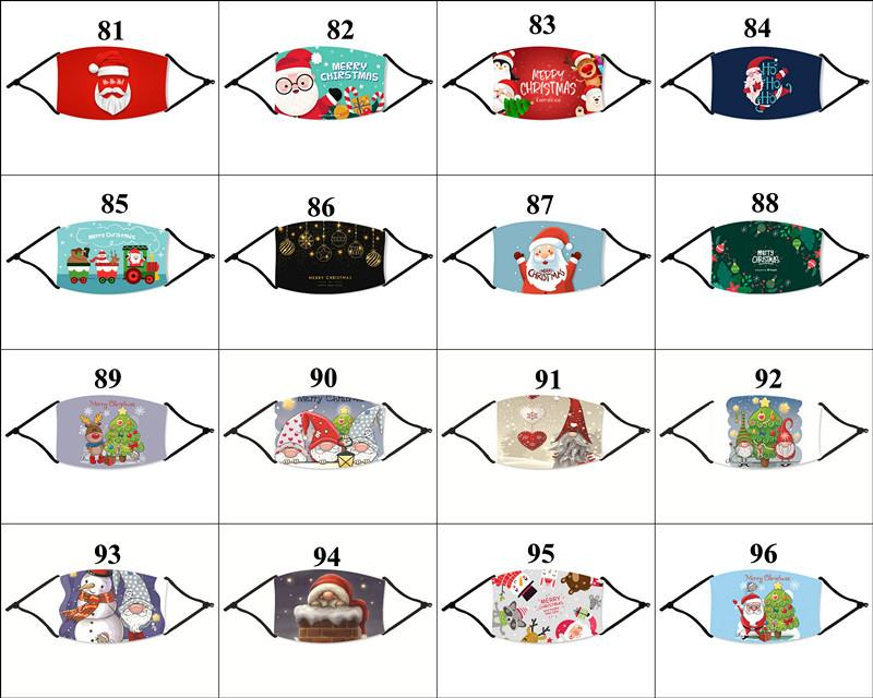 112 Designs Christmas Face Mask Santa Clause Elk Men Women Mouth Mask With 1 Filter Xmas Fashion Reusable Dust Party Mask DHL