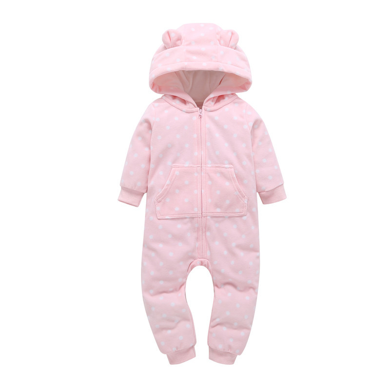 newborn baby girl clothes one piece rompers Long sleeve hooded cute dot print cotton pink spring toddler baby boy overalls
