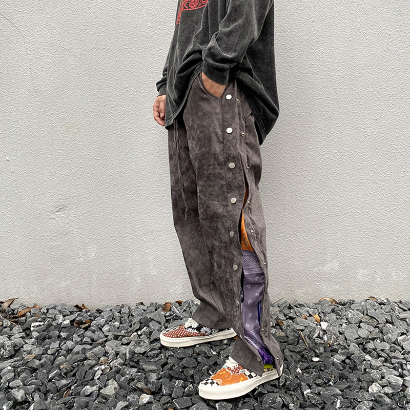 High Street Side Button Print Suede Baggy Pants Mens Drawstring Straight Loose Casual Pants Hip Hop Oversize Trousers