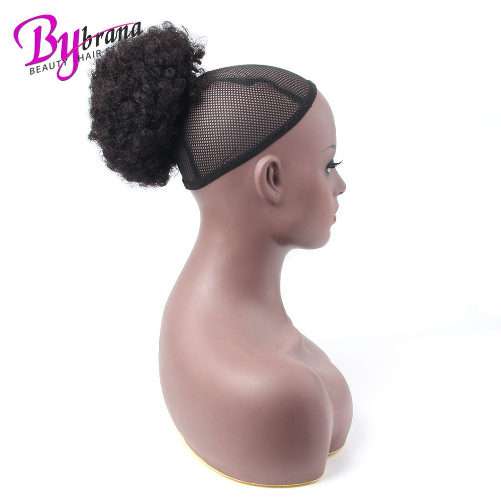 Afro Kinky Curly Ponytail Chignon For Women Natural Black Remy Hair Clip In Ponytails Drawstring 100% Human Hair Extension 1 PCS (13)