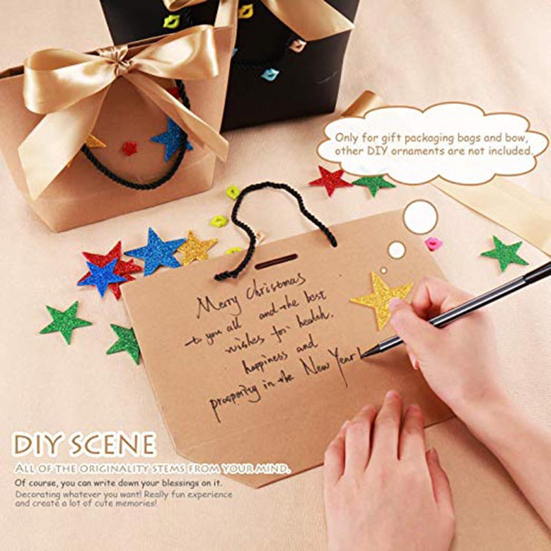 Large Size Gift Box Packaging Gold Handle Paper Gift Bags Kraft Paper With Handles Wedding Baby Shower Birthday Party Favor