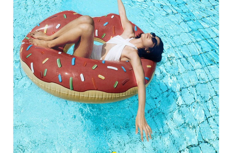 90cm Gigantic Donut Swimming Summer Outdoor Inflatable Swim Ring Pool Swimming Floating Boat Row Water Toy Pool Inflatable Floats Pool Toys