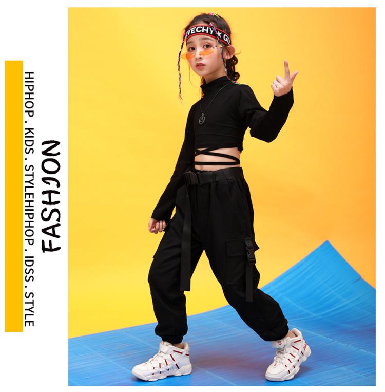 Kids Hip Hop Clothing High Neck Sweatshirt Shirt Top Crop Black Running Casual Pants for Girl Jazz Dance Costume Dancing Clothes (9)