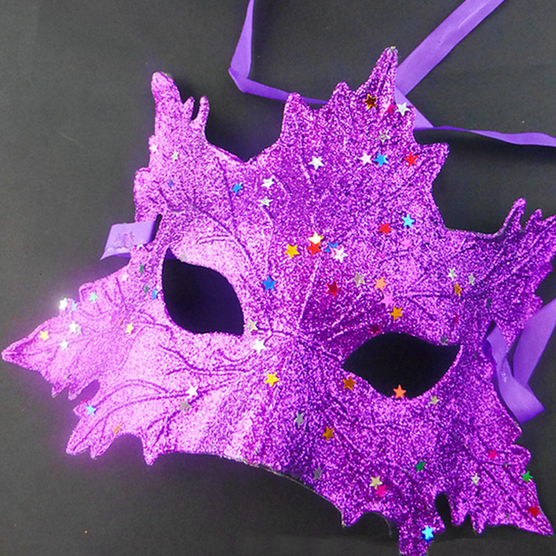 Sexy Colorful Maple Leaf Mask for Girls Women Masquerade Dancing Party Half Face Eye Mask Halloween Fancy Dress Costume