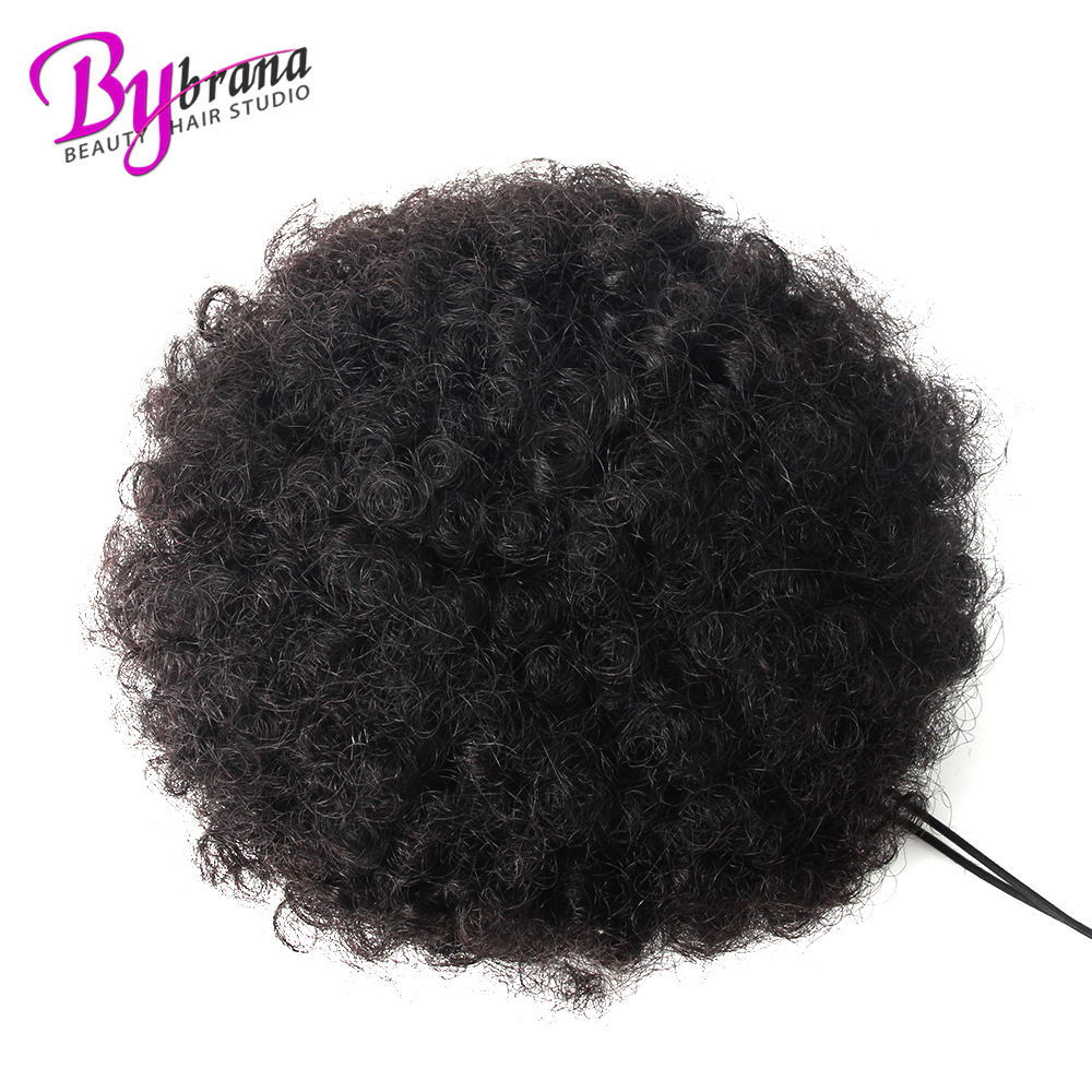 Afro Kinky Curly Ponytail Chignon For Women Natural Black Remy Hair Clip In Ponytails Drawstring 100% Human Hair Extension 1 PCS (12)