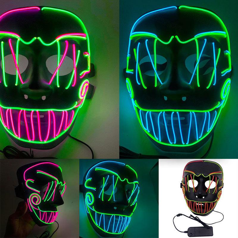 Halloween Horror Skull Face Masks LED Luminous Mask Party Mask Horror Seam Mouth EL Cold Light Mask F1003