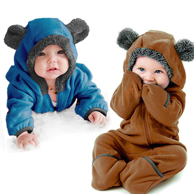 2019 new born baby clothes winter boy costume infant long sleeve fleece romper children bear ears hooded jumpsuit outwear blue