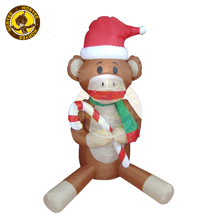 4ft Christmas Decoration Inflatable Monkey with Christmas Hat, Air blown Christmas Decoration Monkey