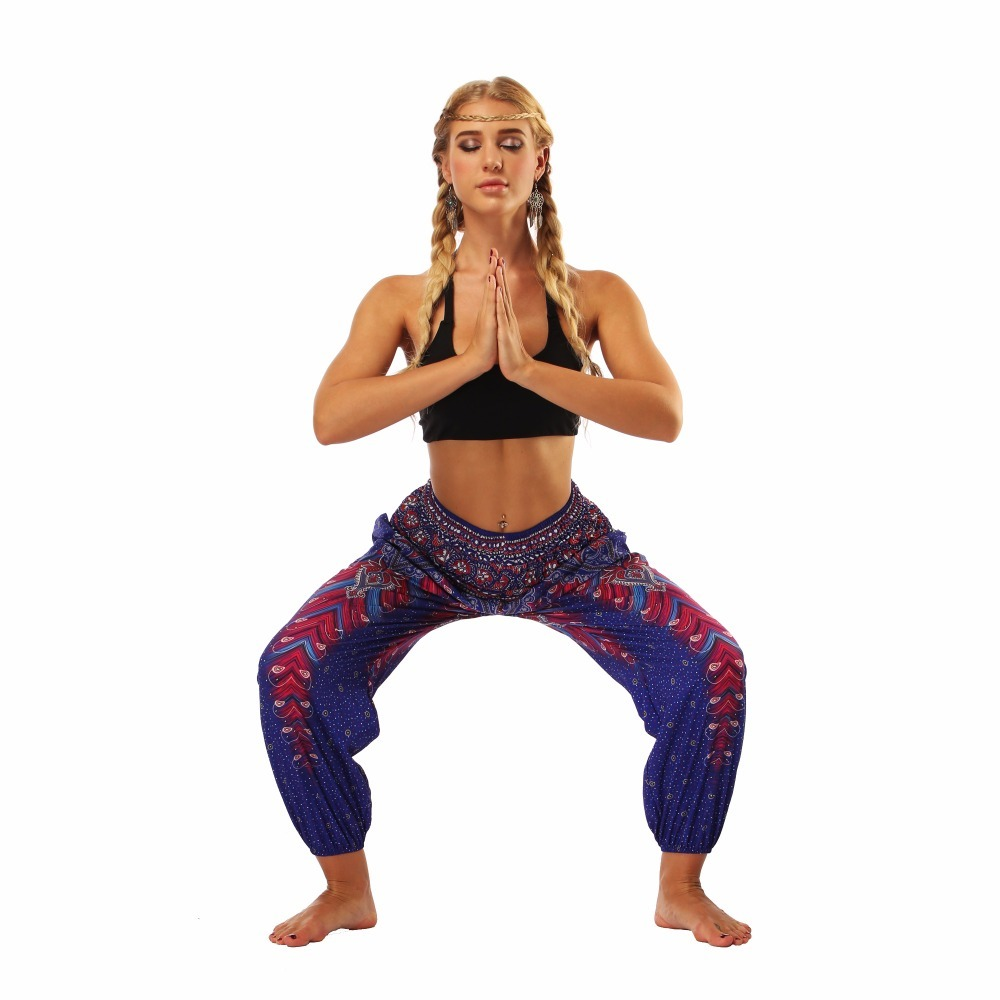 TL003 Royal blue wide leg loose yoga pant legging (3)