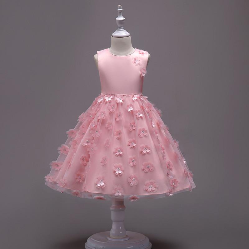 2019 Fashion Children Dresses For Girl Clothes Elegant Fower Girls Dress Kids Princess Birthday Applique Prom Designs Ball Gown (4)