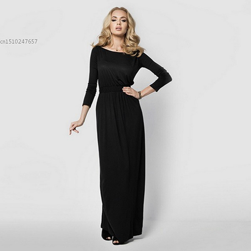 Women Long Sleeve Loose Fit Off the Shoulder Casual Autumn Spring Maxi Dress
