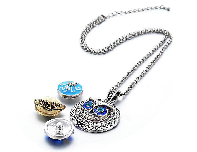 NOOSA Ginger Snap Necklace Button Pendants with Crystal Jewelry Interchangeable Jewerly with Stainless Steel Chain NN-032