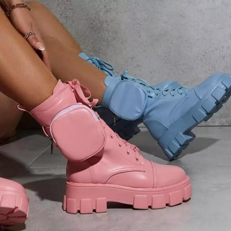 2020 New Chunky Boots Fashion Pocket Platform Boots Women Ankle Boots Female Sole Pouch Ankle Boot Women Botas Mujer Plus Size Dropshipping Designer
