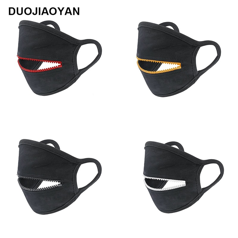 Fashion Face Mask Hot New Style Zipper Mask Black Pure Cotton Breathable Men And Women Dustproof Reusable Masks Outdoor Sports Cycling Masks