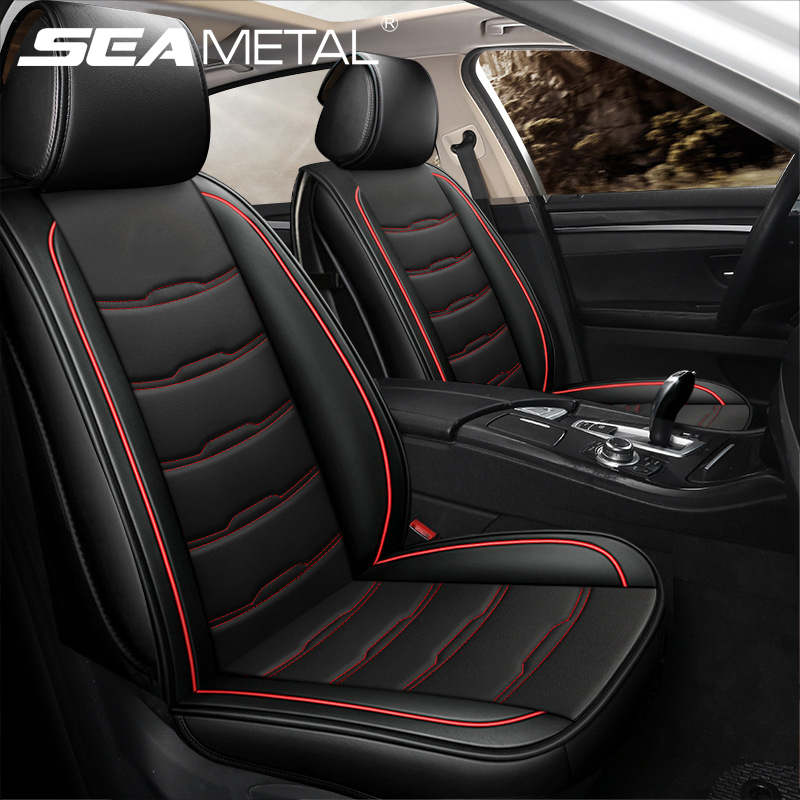 with headrest and waistrest for Hyundai Sonata 5 Car Seat Covers Luxury Airbag Compatible Durable Comfort Leatherette Seat Cushions Front and Rear Seats Covers Coffee