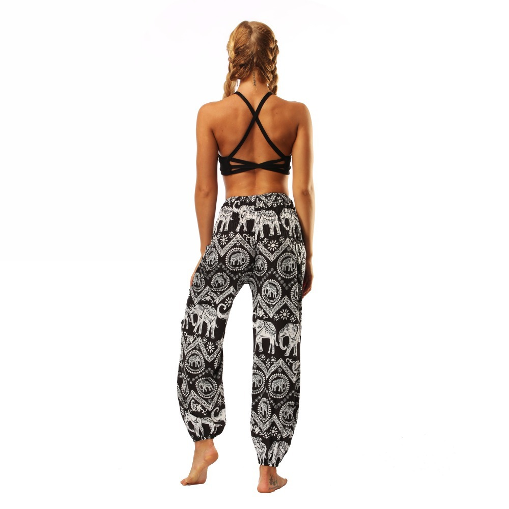 TL008- Black and white elephant wide leg loose yoga pants leggings (7)
