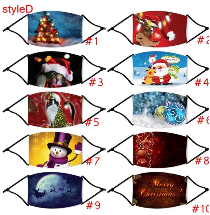 Christmas Masks Santa Clause Elk Snowman Print Face Mask Adjustable Party Mouth Cover With Filter Xmas Adult Anti Dust PM2.5 Mask LSK1164