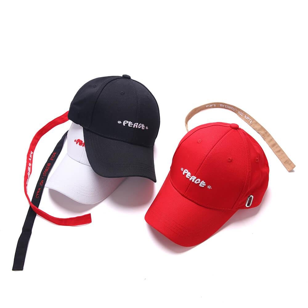 Long Tail Cap Letters Embroidery White Baseball Cap Men and Women Street Dance Hats Outdoor Sun Hat