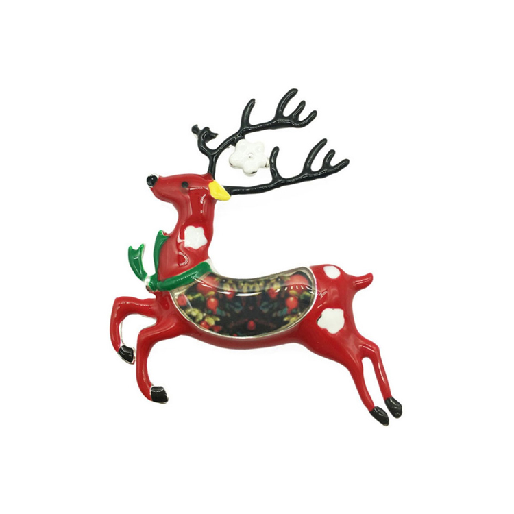 Cute Reindeer Brooch Enamel Animal Deer Brooches Charming Lapel Pin Shirt Collar Jewelry Gift For Women Men Kids Clothing Pins