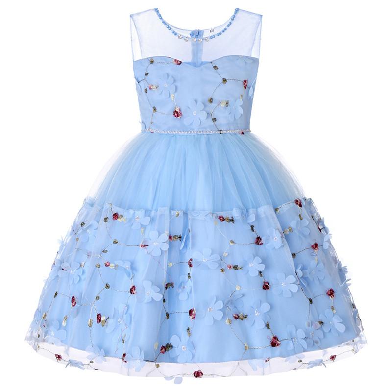 Elegant Pearl Applique Girls Dresses Teenage Princess Birthday Wedding Party Ball Gown Fashion Children Dress For Kids Clothes (4)