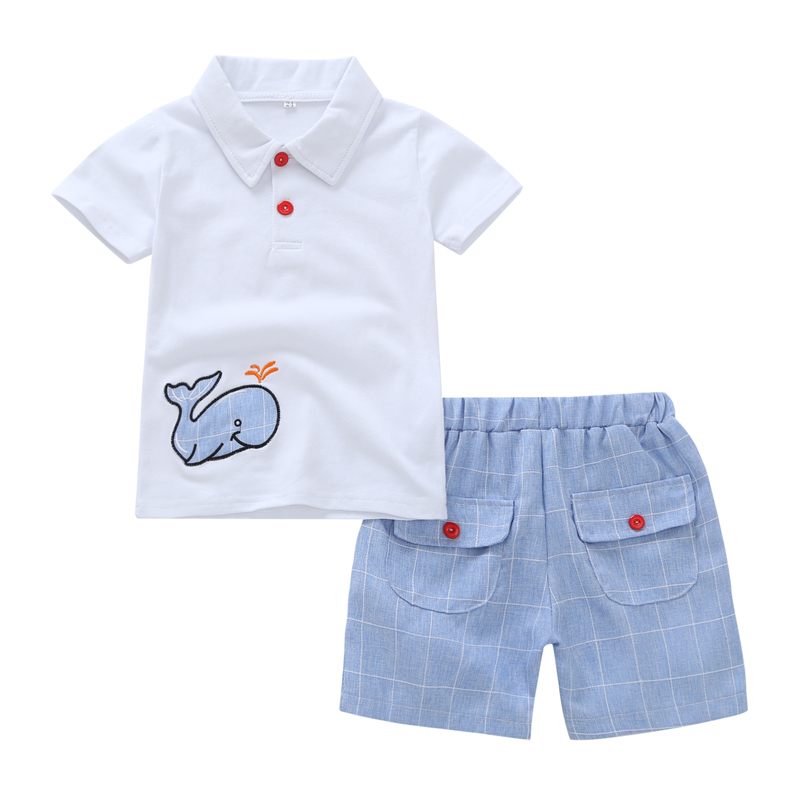 summer baby boy clothes cartoon whale printed short sleeve T-shirt tops white+shorts blue for 1 2 3 4 years kid outfits set