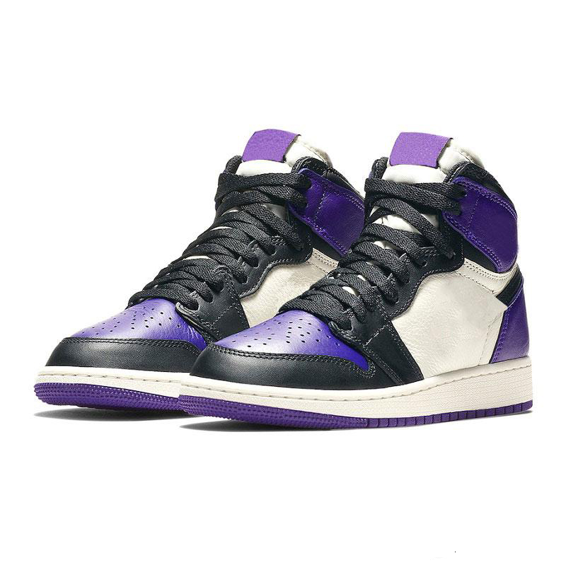 Mens 1s top Pine Green Court Purple Chicago OG 1 Game Royal Blue basketball shoes Backboard sports sneaker trainers size 5.5-13